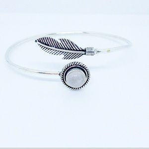Moonstone Feather Sterling Silver Bangle Bracelet